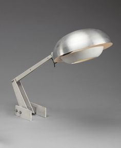 Wim Rietveld; Enameled Steel and Aluminum Table Lamp for Gispen, c1960.