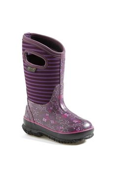 Bogs 'classic - Flower Stripe' Waterproof Boot (little Kid & Big Kid)