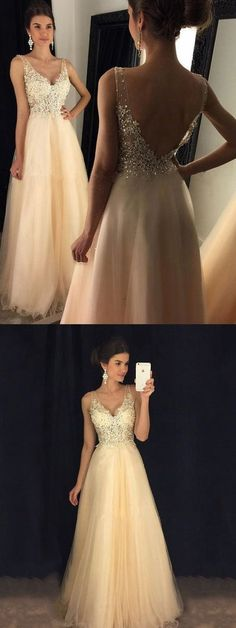 Glamorous A-line V-neck Formal Dresses, Tulle Long Party Dresses, Lace Evening Gowns, Backless Prom Dresses, Long Homecoming Dresses Homecoming Dresses 2018 Homecoming Dresses Long, Backless Prom Dresses, A Line Prom Dresses, Trendy Dresses, Dance Dresses, Fashion Dresses, Ball Dresses, Long Dresses, Prom Long