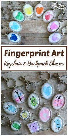 DIY Fingerprint art keychain and backpack charms are an easy handmade craft and gift idea that kids, teens, and adults can make. Use your fingers and thumbs to make unique one of a kind fingerprint art keychains or backpack charms. A homemade gift idea fo Homemade Kids Gifts, Diy Gifts For Kids, Craft Projects For Kids, Craft Gifts, Kids Diy, Art Projects, Crafts For Teens To Make, Mothers Day Crafts For Kids, Gifts For Family