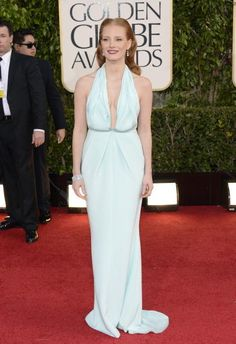 jessica chastain in calvin klein - not keen #goldenglobes