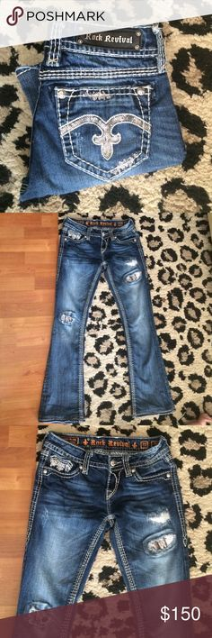 Alanis Rock Revivals Size 27 Rare!! Size 27 boot cut. Inseam 32/33 in. Trade for other rocks size 29 or 30!! Much Cheaper on Ⓜ️erc Rock Revival Jeans Boot Cut