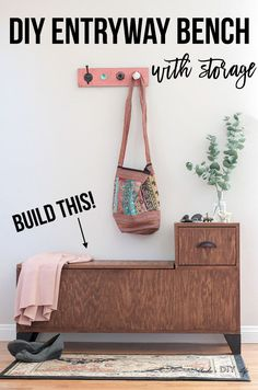 DIY Entryway Bench With Storage - Wooden Storage Bench With Plans Diy Entryway Storage Bench, Wooden Storage Bench, Diy Bench, Bench With Storage, Easy Storage, Entryway Ideas, Kitchen Storage, Storage Ideas, Diy Wood Projects