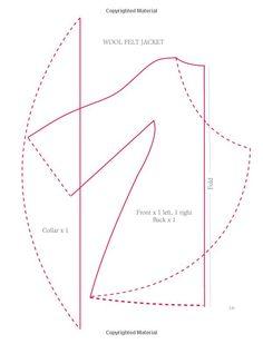vilten jasje Tilda doll jacket pattern