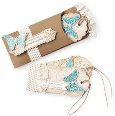 Geschenkanhänger: stampin up butterfly tag cards...(mit Coin-Umschlag, evtl. Alternative scalloped envelope die quer)