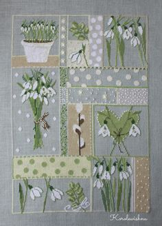 Snowdrops in Embroidery . Cross Stitch Heart, Cross Stitch Samplers, Cross Stitch Flowers, Cross Stitching, Cross Stitch Embroidery, Hand Embroidery, Cross Stitch Designs, Cross Stitch Patterns, Easter Cross