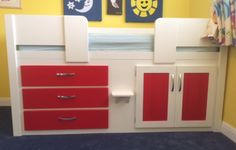 White and ferrari red 3 drawer cabin bed designed for a young boys room. White and ferrari red 3 drawer cabin bed designed for a young boys room. Aspenn hand make bespoke f Childrens Cabin Beds, Bespoke Furniture, Young Boys, Bed Design, Boy Room, Filing Cabinet, Natural Wood, Ferrari, Drawers