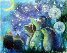 ♡☆ The Hedgehog family enjoying the moon and star's ☆♡