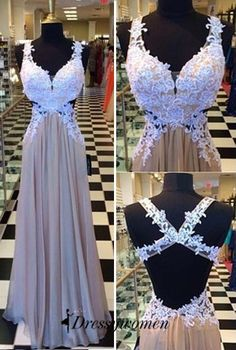 Backless Prom Gowns,Elegant Prom Dress,White Lace Prom Dresses,Chiffon Evening Gowns,Champagne Forma on Luulla Prom Gowns Elegant, Backless Prom Dresses, A Line Prom Dresses, Formal Dresses, Dress Prom, Dresses 2016, Dress Long, Long Dresses, Chiffon Dresses