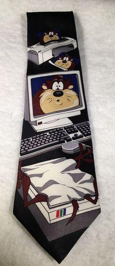 SOLD Looney Tunes TAZ Men's Tie Computer Scanner Printer Novelty Funny Necktie  #LooneyTunes #Tie