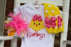 Baby Girl Easter Outfit -- Hot Pink Chickie -- onesie, leg warmers and Over The Top bow -- pink and yellow. $59.95, via Etsy.