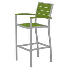 Polywood Euro Bar Height Patio Dining Arm Chair - Silver