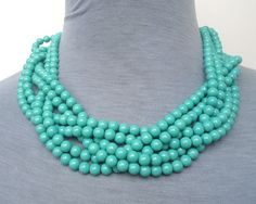 Turquoise NecklaceGlass pearl necklacesix by pearlandjewelry