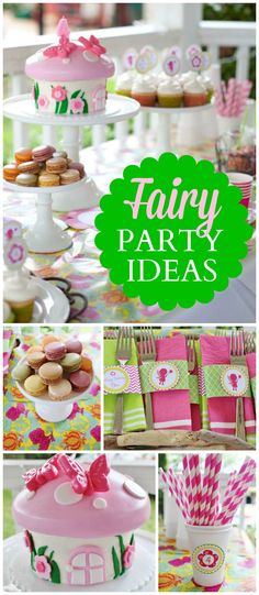 This fairy party in pink and green in truly magical! See more party planning ideas at CatchMyParty.com!