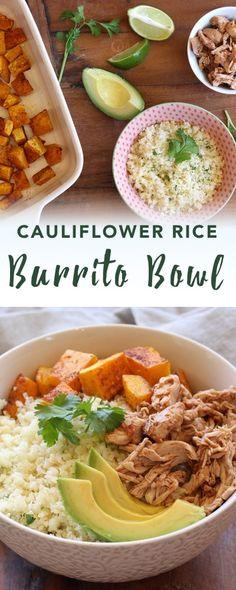 Ok: Paleo burrito bowl Healthy Cooking, Healthy Eating, Healthy Foods, Paleo Recipes, Cooking Recipes, Paleo Ideas, Yummy Recipes, Cauliflower Recipes, Cauliflower Rice