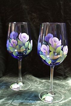 Hand Painted Wine Glasses Set of 2 Lavender and White Roses on Cobalt Blue glass >>> Check out this great product.