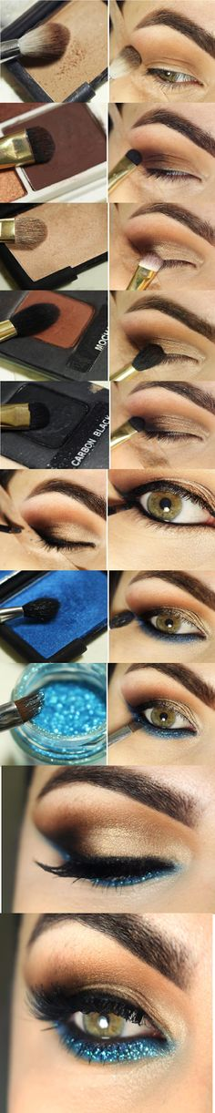 Pearl and Turquoise Eye Makeup Tutorials # Step by Step