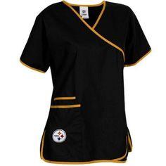NFL Pittsburgh Steelers Women's Mock Wrap Scrub Top, Large, Black