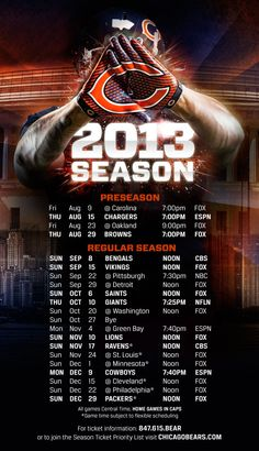 2013 Chicago Bears Schedule. I'm ready for the NFL to be back.