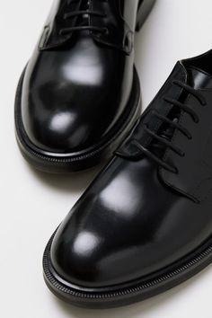 0d332cc7a6179 H M Leather Derby Shoes - Black