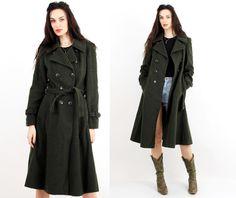 Vintage Petite Mademoiselle Khaki Military Coat Size M / S by Ramaci on Etsy