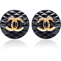 Carole Tanenbaum Vintage Chanel Black Quilted CC Earrings ($850) ❤ liked on Polyvore featuring jewelry, earrings, accessories, chanel, earring jewelry, circle earrings, circle jewelry, plastic earrings and plastic jewelry