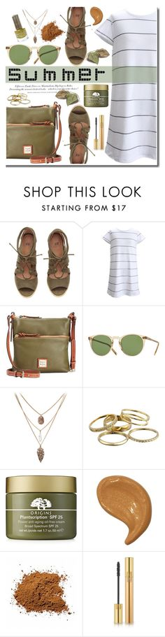 """""""Summer Sandals"""" by daizydarling ❤ liked on Polyvore featuring Dooney & Bourke, Oliver Peoples, H&M, Kendra Scott, Origins, Yves Saint Laurent, Floss Gloss, Summer, stripes and olive"""