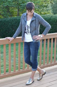 Real Mom Style: Knit Motorcycle Jacket, french terry biker jacket, cropped jeans, metallic oxford shoes, Paris tee, fashion,