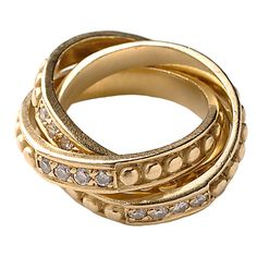 Judith Ripka Rolling Rings with Diamonds.Rolling rings with raised circles and diamonds .Eighteen karat gold. Circa 1990s