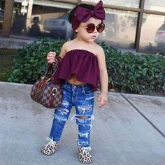 Cool Stylish Baby Girl Clothes New 2017 Summer Newborn Kids Baby Girls Clothes Sleeveless Off Shoulder Short Bl. Cute Little Girls Outfits, Cute Baby Girl Outfits, Toddler Girl Outfits, Cute Baby Clothes, Cute Outfits, Matching Clothes, Pretty Clothes, Cute Kids Fashion, Little Girl Fashion