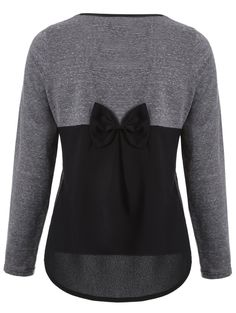 Back Bowknot Embellished Patchwork High-Low Tee in Colormix   Sammydress.com