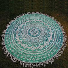 Buy online Ombre Round Mandala Tassle Fringe Roundie Yoga Mat tapestry