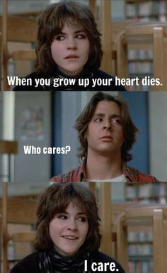 This quote gets me every time. It means a lot to me. Because I do care.   The saddest part is that all the people who were kids when this movie came out are now all grown up.  #breakfastclub #allison #icare