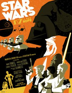 Star Wars: A New Hope poster by Tom Whalen Star Wars Fan Art, Star Wars Episoden, Tom Whalen, Star Wars Poster, Sith, Jedi Ritter, Vintage Star, Alec Guinness, Poster Art