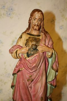 Sale Rare Antique French Sacred Heart Jesus Chalk Ware Statue Shabby Chic French Nordic. $299.00, via Etsy.    I know you do Mary's but look at the color on him!