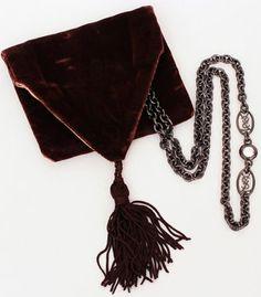 SOLD vintage YSL logo gunmetal chain necklace with encased rhinestone detail - original velvet bag