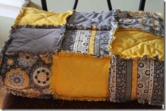 grey and yellow rag quilt for master bedroom redo