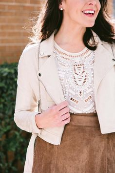 suede moto jacket and embellished crop top for fall // fashion and frills dallas style blogger outfit idea