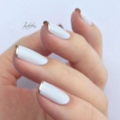 white French manicure with gold rim