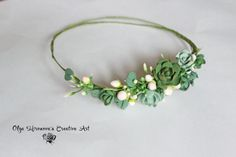 Boho Rustic Untailored whimsy Floral headband, Bridal wreath, garland with succulents and berries, Bridal tiara, floral crown