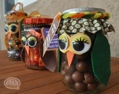 Owl Candy Jars http://club.chicacircle.com/wp-content/uploads/2011/11/Owl-candy-jars-side-view.jpg