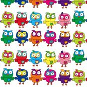 Rainbow Multicolor Owls fabric by theartwerks for sale on Spoonflower - custom fabric, wallpaper and wall decals