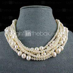 6 cordones blanco collar de perlas de agua dulce - 18 a 19 pulgadas