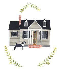 Custom illustrated house portrait. $150.00, via Etsy.