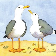 Seagulls Coaster summer watercolour art painting illustration for all you beach lovers and seaside livers