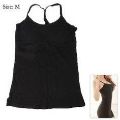 $7.43 Popular Summer Cotton Sun-top Bust Black Shaping Vest with Pad for Women - M Size Black Vest, Basic Tank Top, Sun, Popular, Tank Tops, Summer, Cotton, Women, Fashion