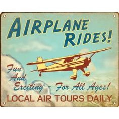 Airplane Rides Retro Sign / Wall Plaque... $14.88