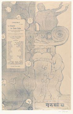 Henri de Toulouse-Lautrec | Programma voor het toneelstuk Le chariot de terre cuite met acteur Felix Fénéon staand op balkon boven Indische olifant, Henri de Toulouse-Lautrec, Théâtre de l' Oeuvre, 1895 | Programma voor het toneelstuk Le chariot de terre cuite met acteur Felix Fénéon als Hindoestaanse priester staand op balkon boven beeld van Indische olifant. In een rechthoekig kader staan de titel en rolverdeling vermeld.