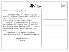 postcard penpals Mexico: mole, churros y chocolate. Interpersonal writing (emails, postcards, Facebook message,tweet. Etc