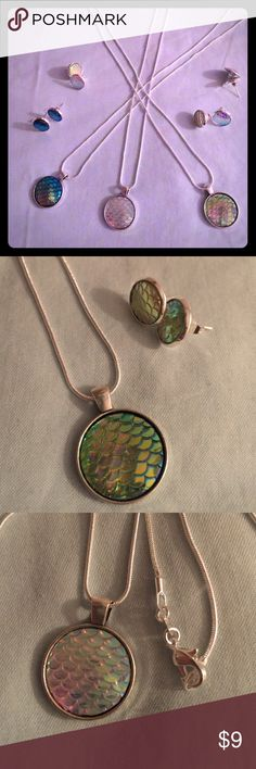 """Mermaid Scale Jewelry Sets Mermaid scale textured silver and resin jewelry set. Necklace 24"""" with 7/8"""" pendant and matching earrings 1/2"""". Iridescent shimmer catches the light in different colors. Fun, dazzling jewelry, handmade in Colorado. Jewelry"""